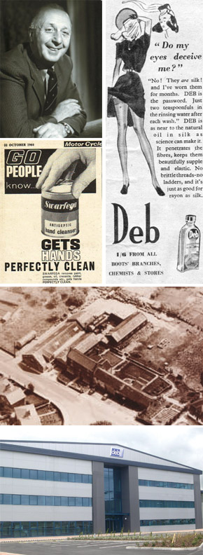 Company history photographs and adverts